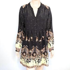 Free People Long Sleeve Black Paisley Shirt Dress